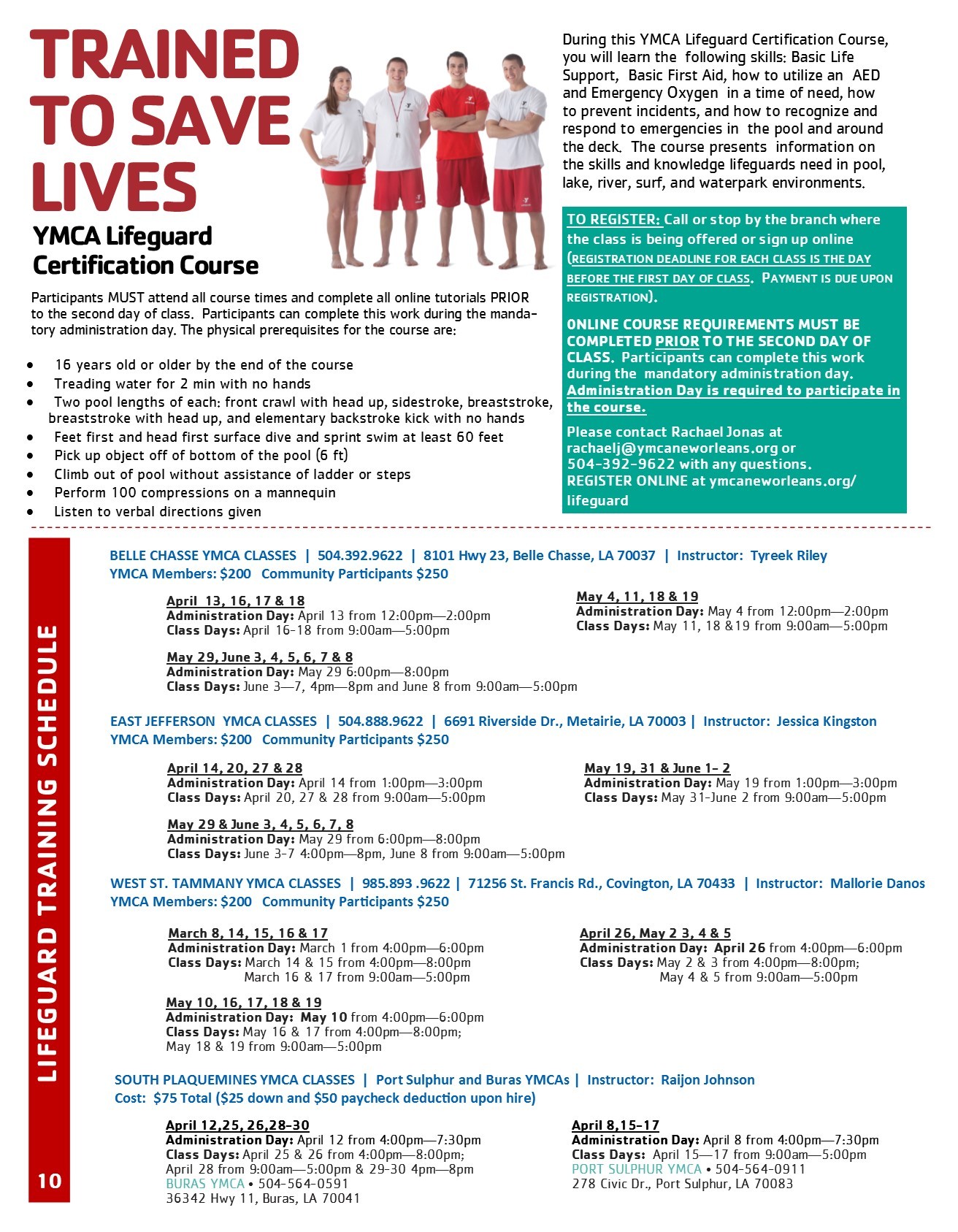 Ymca Lifeguard Certification Course Ymca Of Greater New